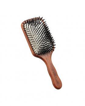 豬鬃單絲尼龍紅木方形髮刷